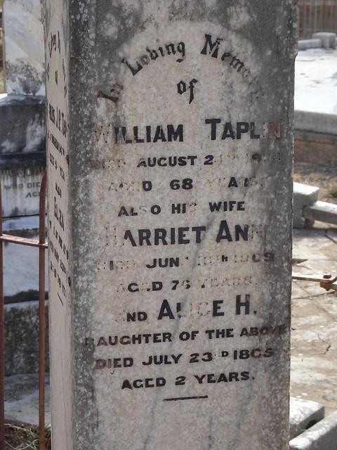 Photo:Salisbury. In the Anglican cemetery William Taplin born 1835 England died 24 August 1904 Salisbury. His wife Harriet Winzor Taplin born 1836 died 18 June 1909 in Salisbury SA. Their daughter  Alice 1863 to 1865. By denisbin