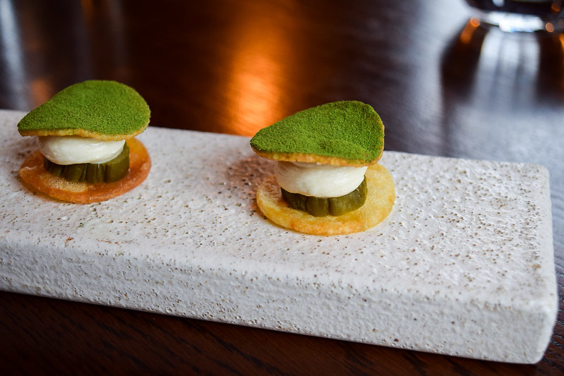 Oak Smopked Cream, Pickled Cucumber and Whitstable Seaweed Powder at the Fordwich Arms, Canterbury