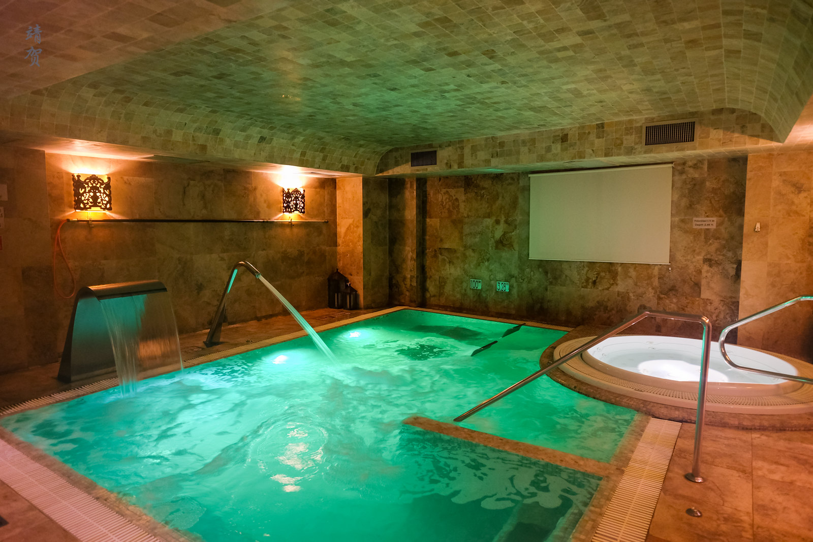Heated pool in the spa