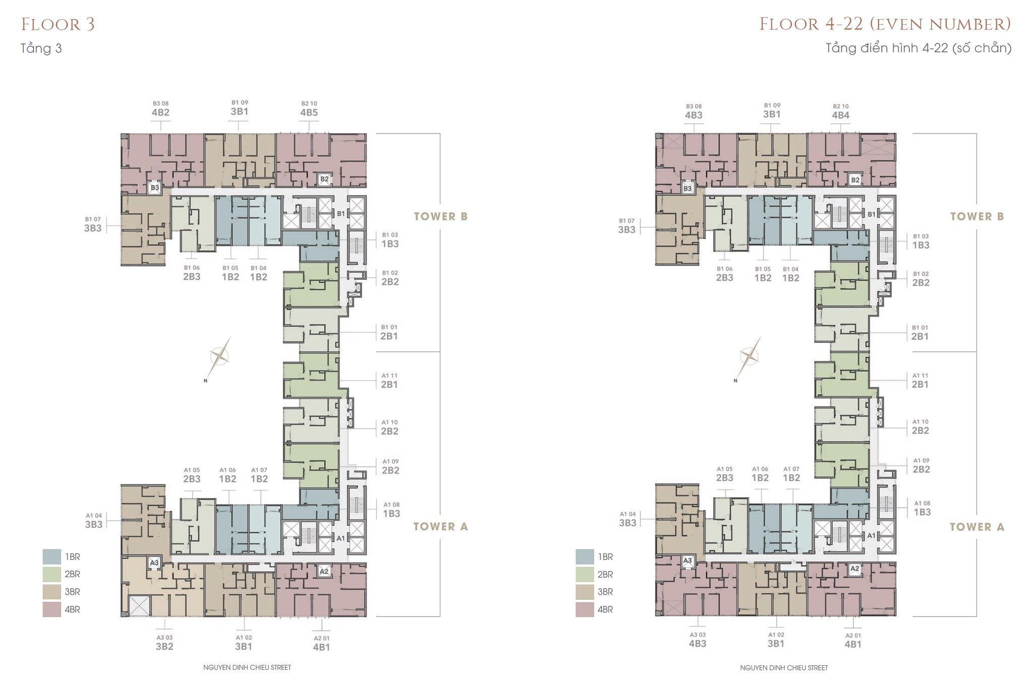 Mặt bằng tầng 3 và 4-22 (số chẵn)