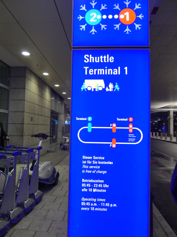 Shuttle bus stop outside Terminal Two at Frankfurt Airport