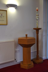 font and Easter candle