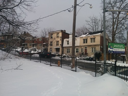 Streetscape, Lansdowne north of Davenport #toronto #earlscourt #davenportroad #lansdowneave #white #winter #snow