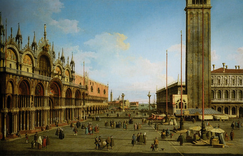 Canaletto - The Piazza and Piazzetta from the Torre dell'Orologio towards San Giorgio, 1744 - Canaletto and the Art of Venice Exhibit at National Gallery of Ireland Dublin Ireland