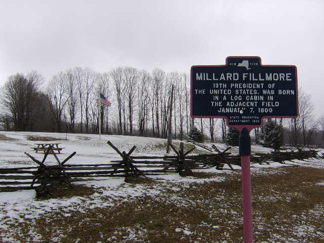 New York State Historic Marker for the birthplace of President Millard Fillmore. Located near the town of Summerhill in Cayuga County, New York. Photo taken by <a href=