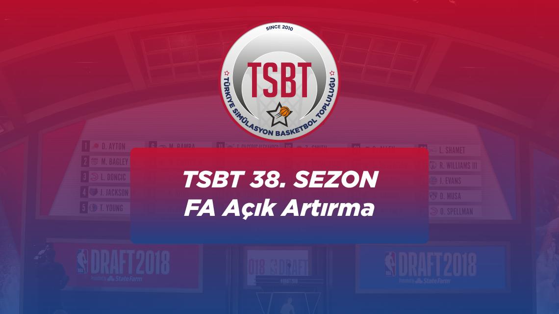 38. Sezon TSBT Free Agent Açık Artırması