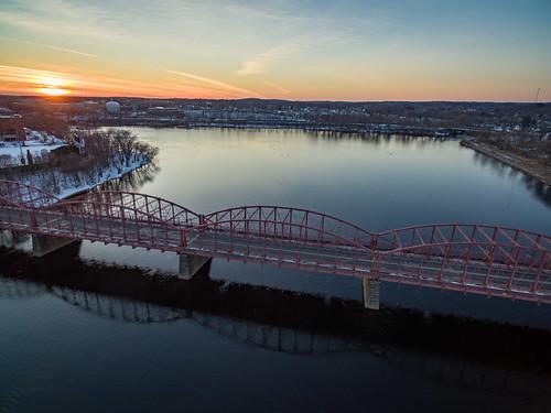 lowell massachusetts phantom3pro sethjdeweyphotography aerial drone evening sunset winter