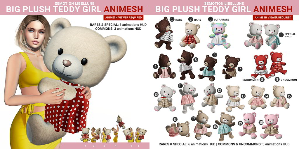 SEmotion Libellune Big Plush Teddy Girl Animesh Gacha Set