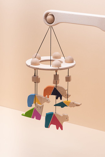 Handmade original design wood Mobile(mobil)carousel arm for baby cot+colour figure changeable hanger