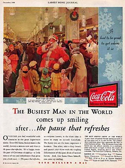 Coca-Cola advertisement featuring Santa Claus, published in the Ladies Home Journal, 1930.