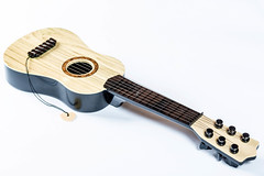 The brown guitar on the white background