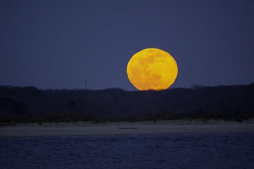 moon super full lunar landscape beach shore coast ocean night sky