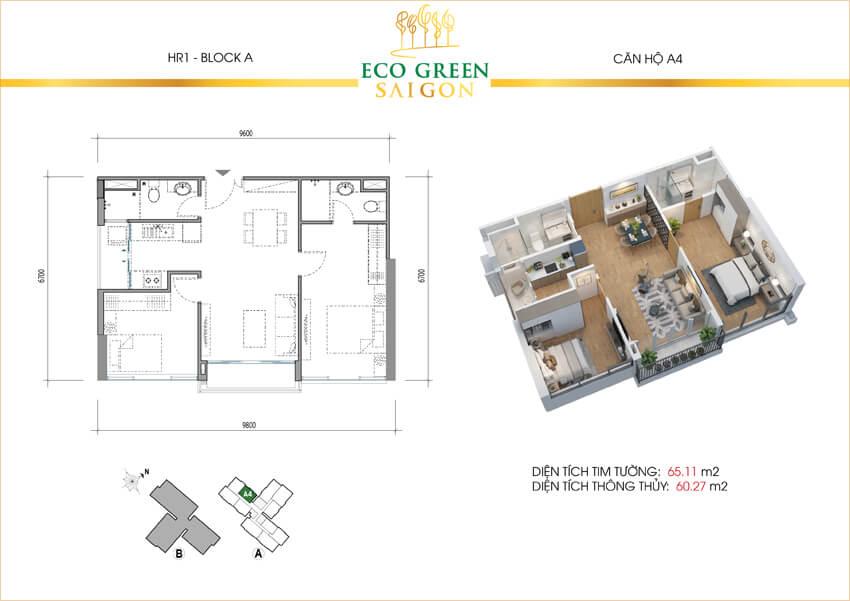 Căn hộ 2 phòng ngủ loại A4 dự án Eco-Green Sài Gòn quận 7.