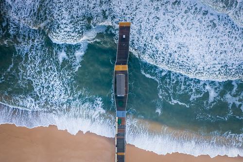 mavic pro 2 zoom landscape seascape water ocean beach belmar fishing pier new jersey nj waves east coat flying fly above top down overhead birds eye view