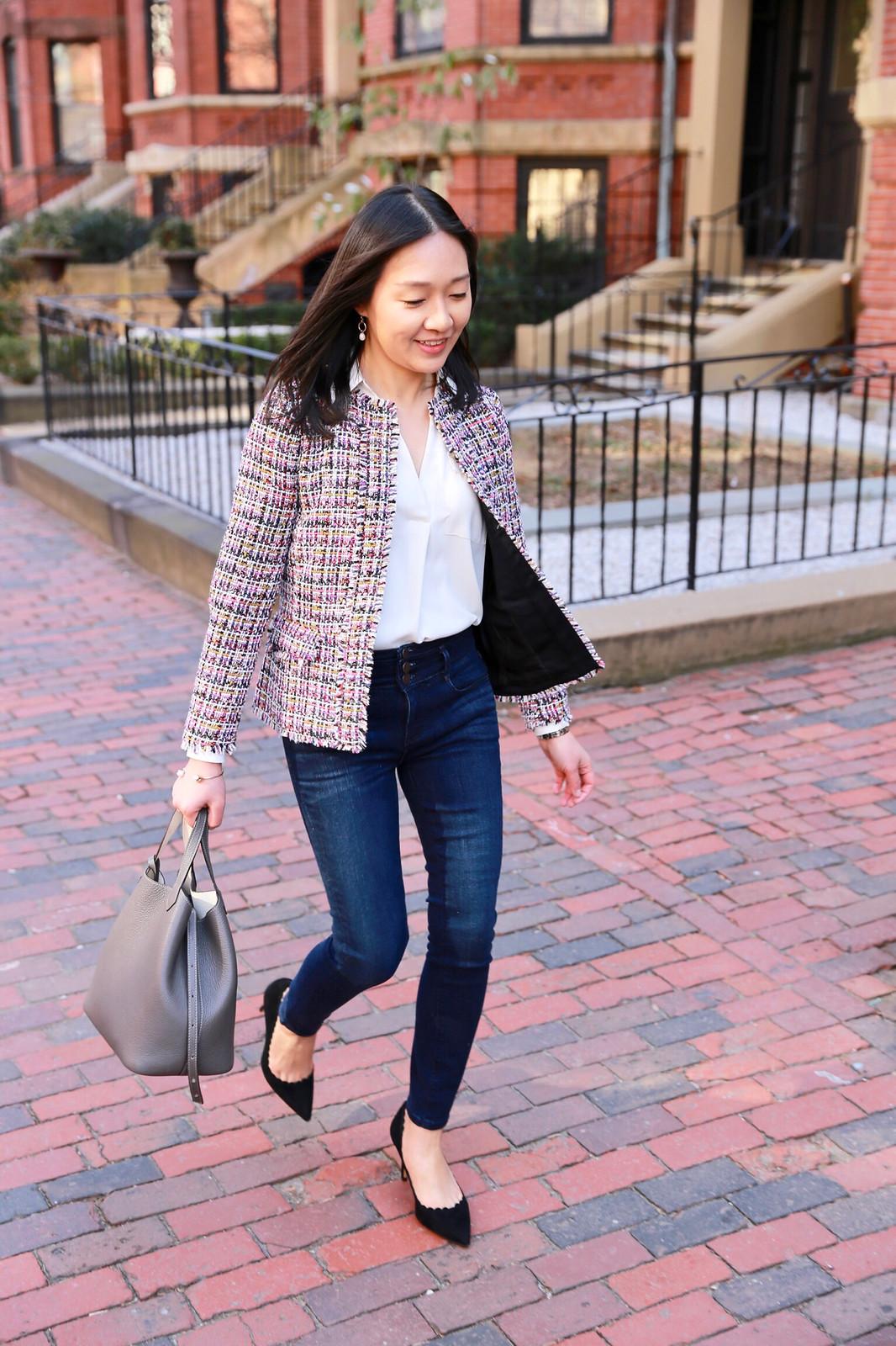 Ann Taylor Fringe Tweed Peplum Jacket
