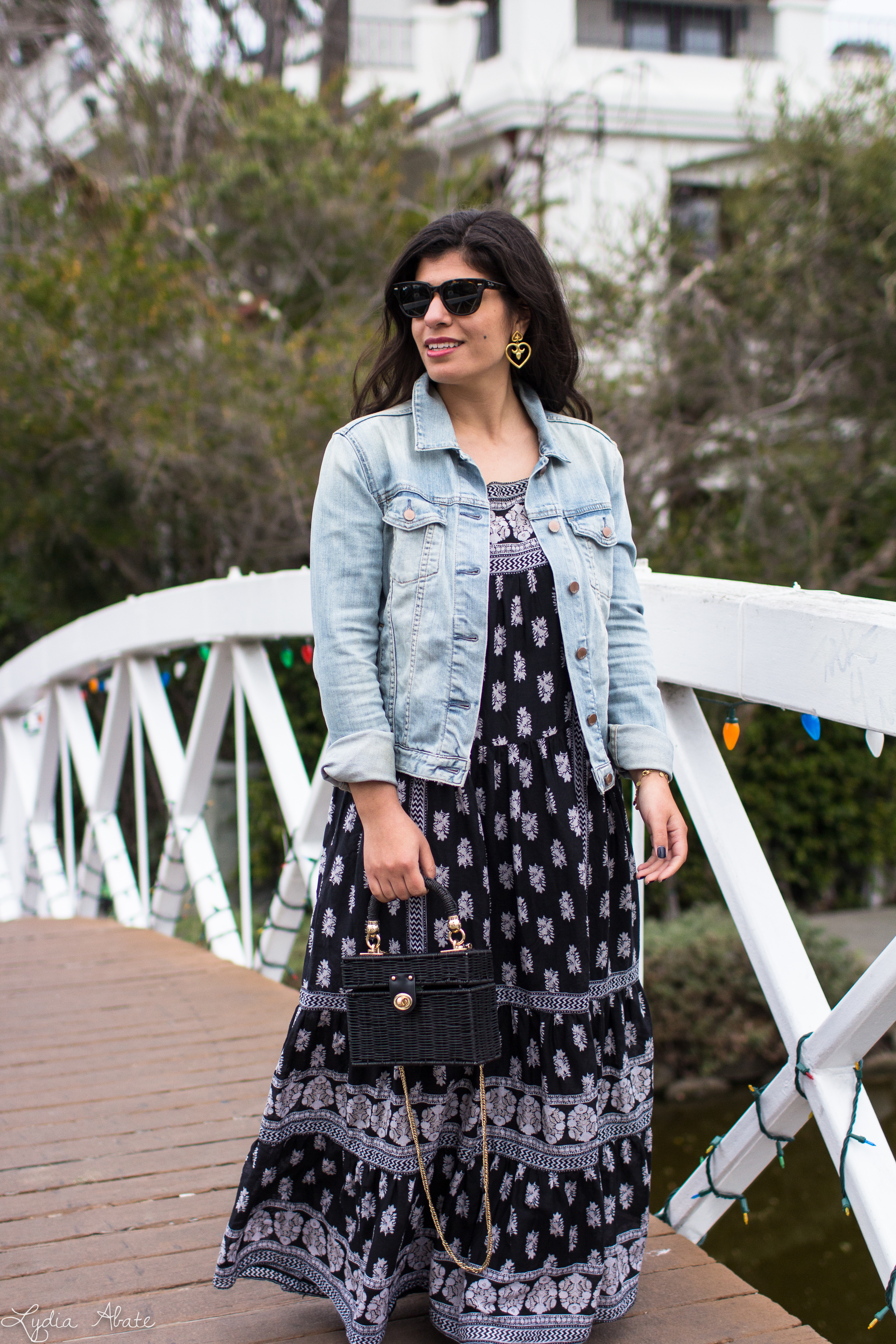 black and white maxi dress, denim jacket, white mules, straw bag-9.jpg