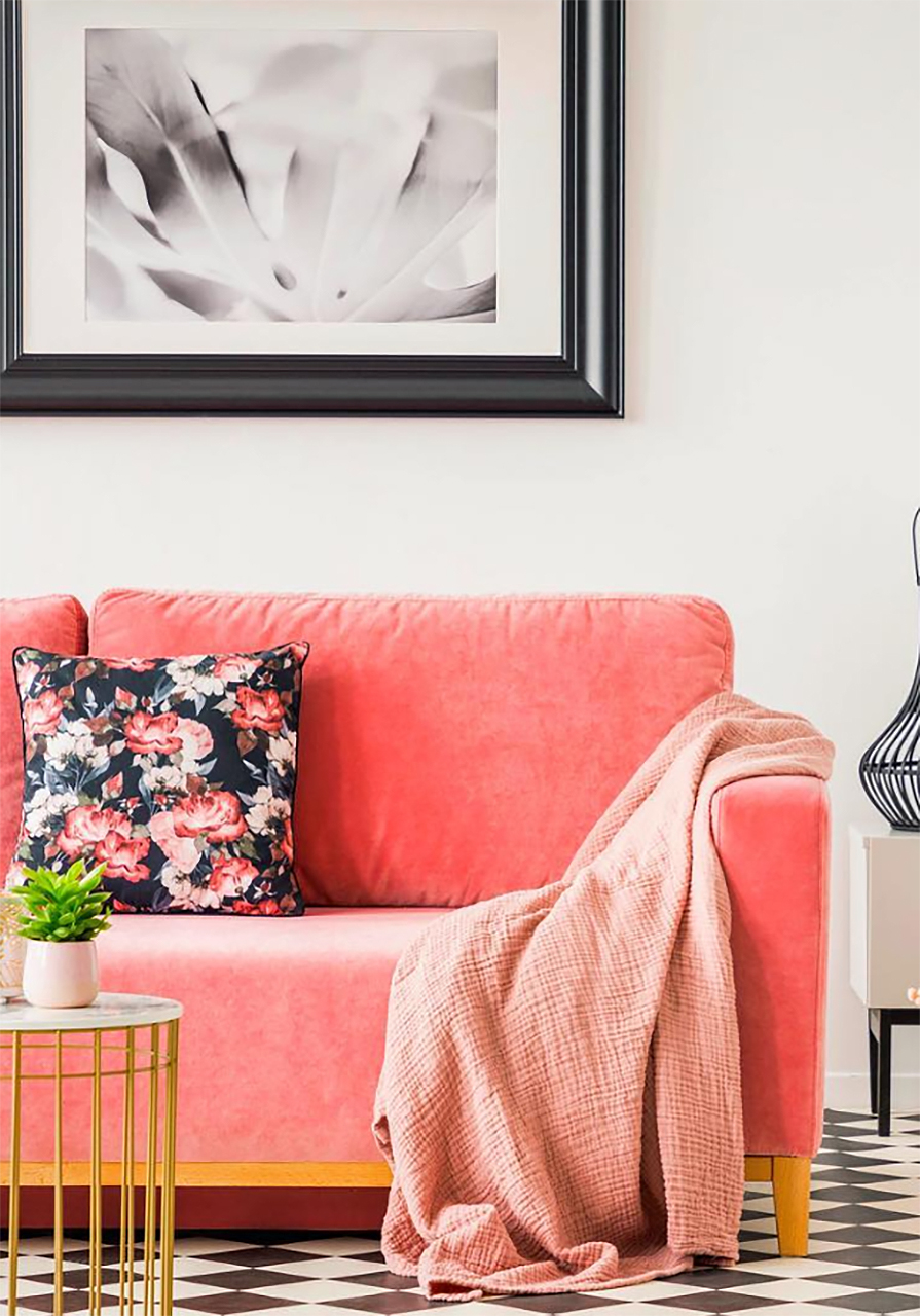 Living Coral Velvet Couch How to Decorate with Living Coral Pantone's Color of the Year