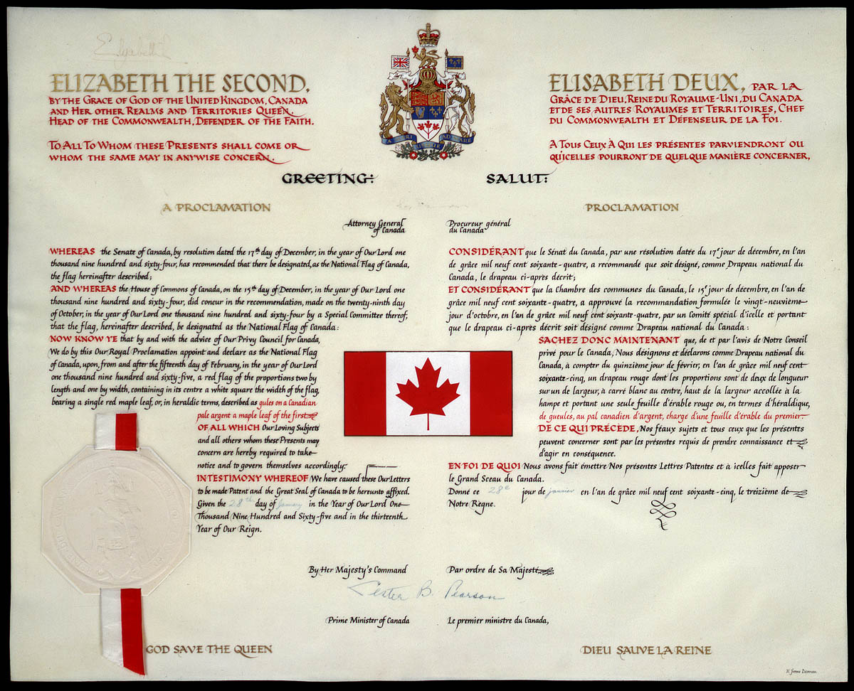 The Royal Proclamation of the National Flag of Canada (1965). Proclamation is from January 1965 and Canadian crown copyright only lasts for fifty years, thus it entered public domain in January 2015.
