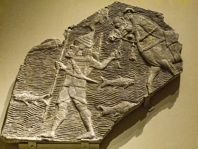 Relief depicting a cavalryman crossing a stream from the southwest palace of Sennacherib in Nineveh Neo-Assyrian Period 704-681 BCE