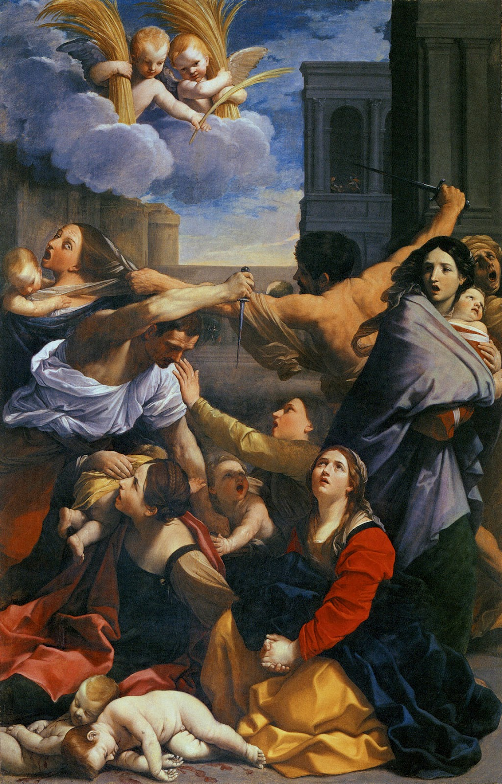 Massacre of the Innocents is a painting by the Italian Baroque painter Guido Reni, created in 1611 for the Basilica of San Domenico in Bologna, but now in the Pinacoteca Nazionale in that same city. The work shows a series of episodes at the same time but is classically composed with each element carefully mirrored by an answering one. Two killer soldiers, one portrayed from behind while rushing on a screaming woman, and one kneeling towards the mothers with their children, hold knives in the right hand. The mothers are reacting in different ways: one is screaming and attempting to escape the soldiers who has grabbed her hair, another is fleeing towards the right while embracing her child, while another, in the lower left corner, is holding her child on her shoulders; another mother tries to stop a soldier with her left hand, and a kneeling woman is praying towards the sky above the children which have already been slaughtered.