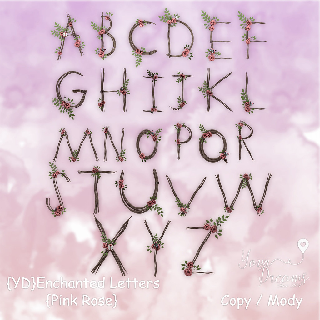 {YD}Enchanted Letters - Pink Rose - TeleportHub.com Live!