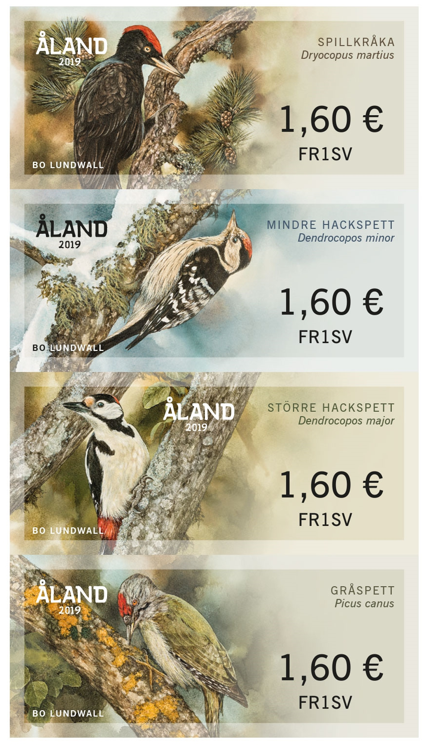 Åland - Woodpeckers ATM Franking Labels (February 1, 2019)