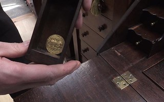 14th century French gold coin in secret drawer
