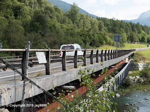 RHE154 Motorway A13 Road Bridge over the Hinterrhein River, Andeer - Donat, Canton of Graubünden, Switzerland