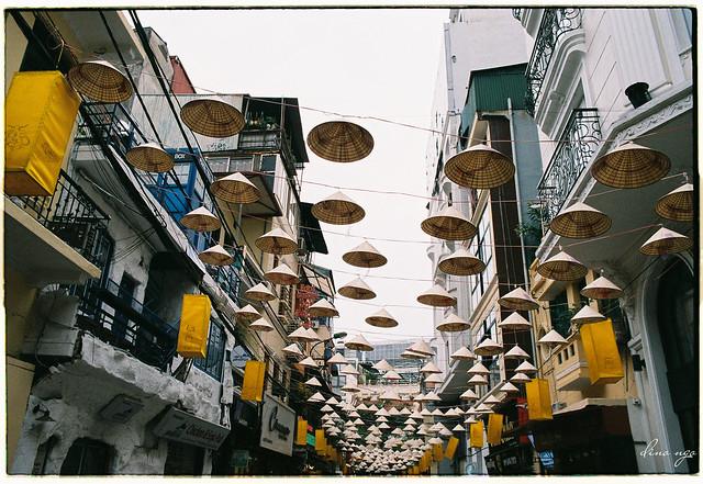 Street of flying hats