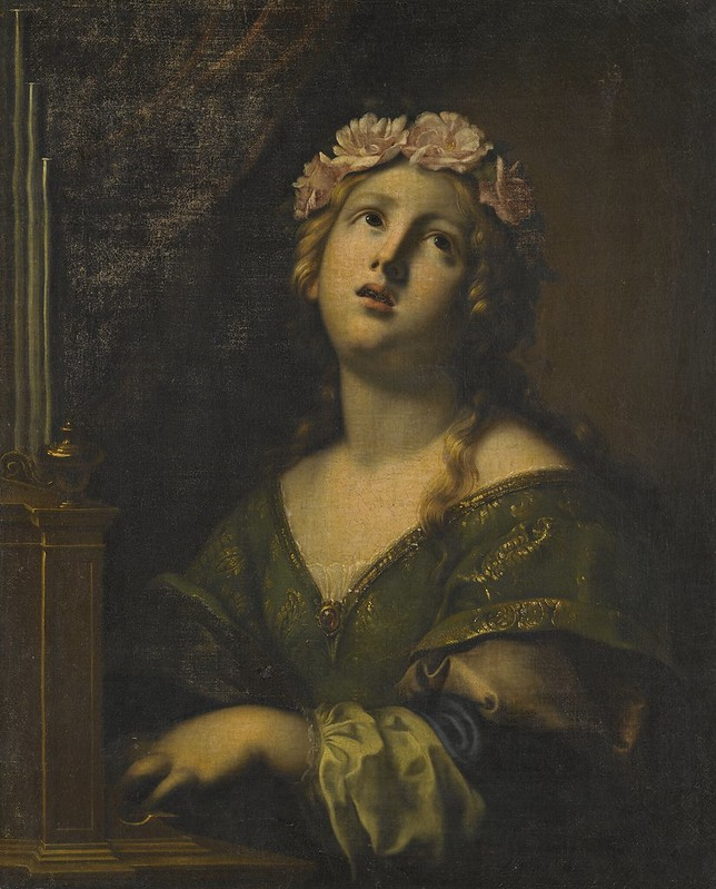 Onorio Marinari - St. Cecilia wearing a crown of flowers, playing an organ