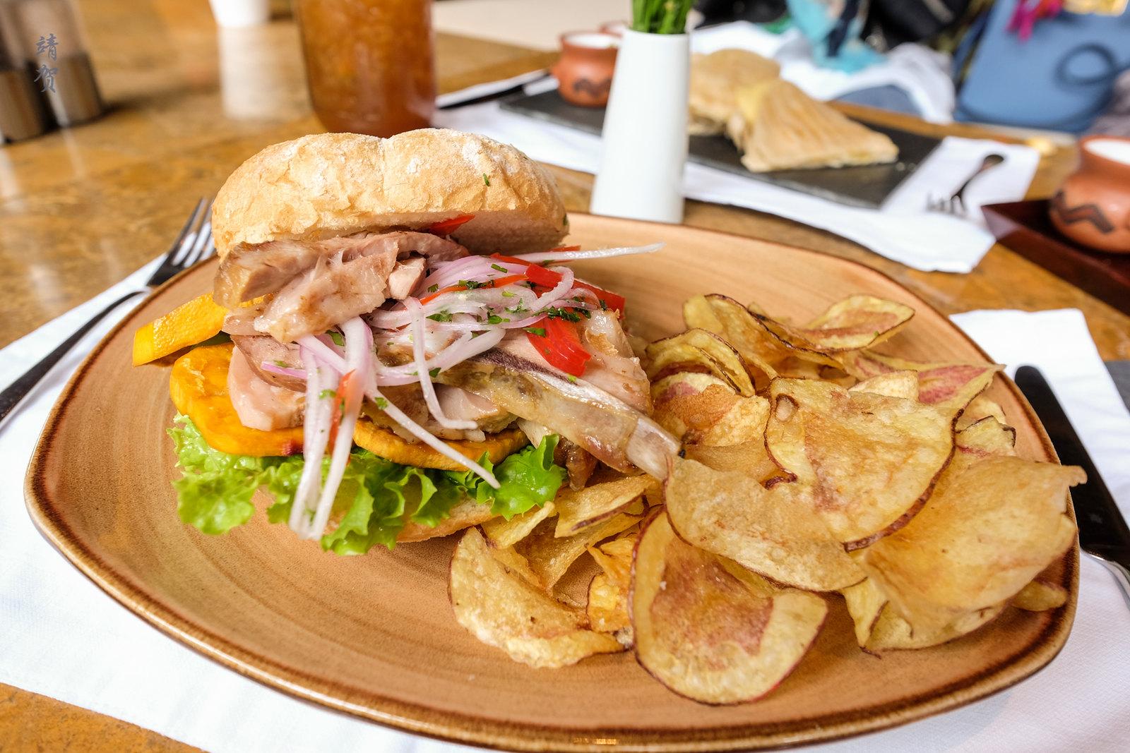 Crispy pork rib sandwich