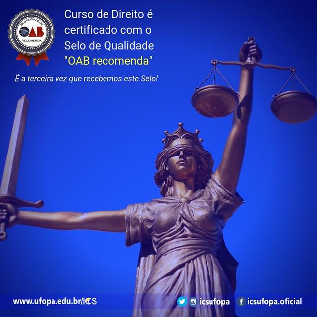 """Curso de direito recebe, pela terceira vez, o Selo de Qualidade """"OAB Recomenda"""""""