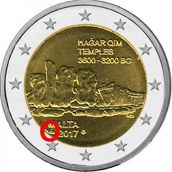 2 Euro Malta 2017, Chrámy Hagar Qim coincard