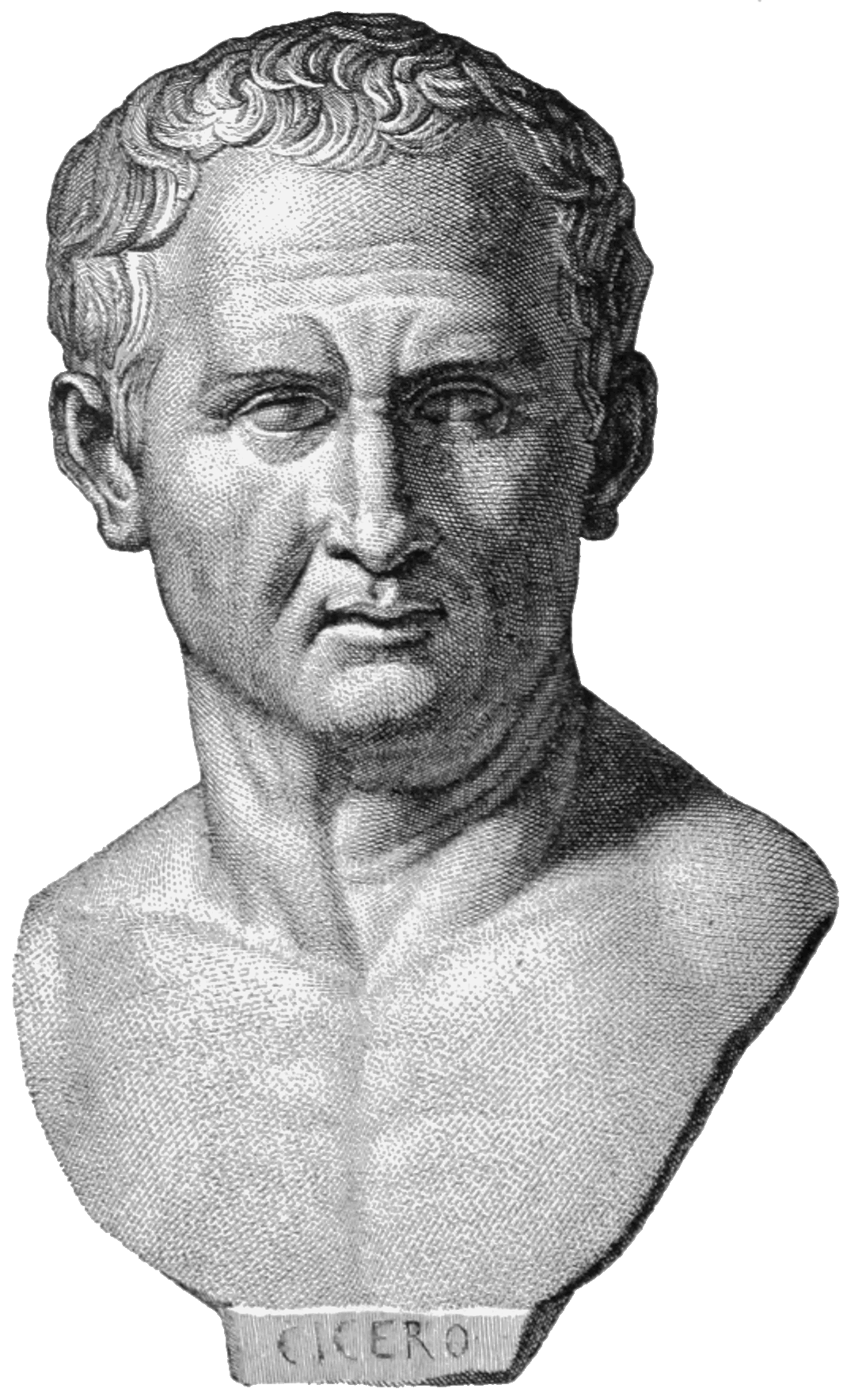 Drawing of a bust of Cicero. Published in Monuments of Classical Antiquity by Baumeister (1885) Volume I., page 396.