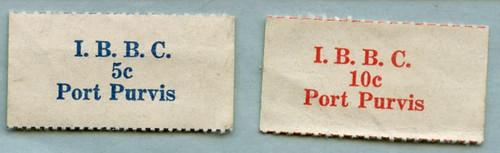 Atomic Test chits I.B.B.C. 5C Port Purvis, I.B.B.C. 10C Port Purvis