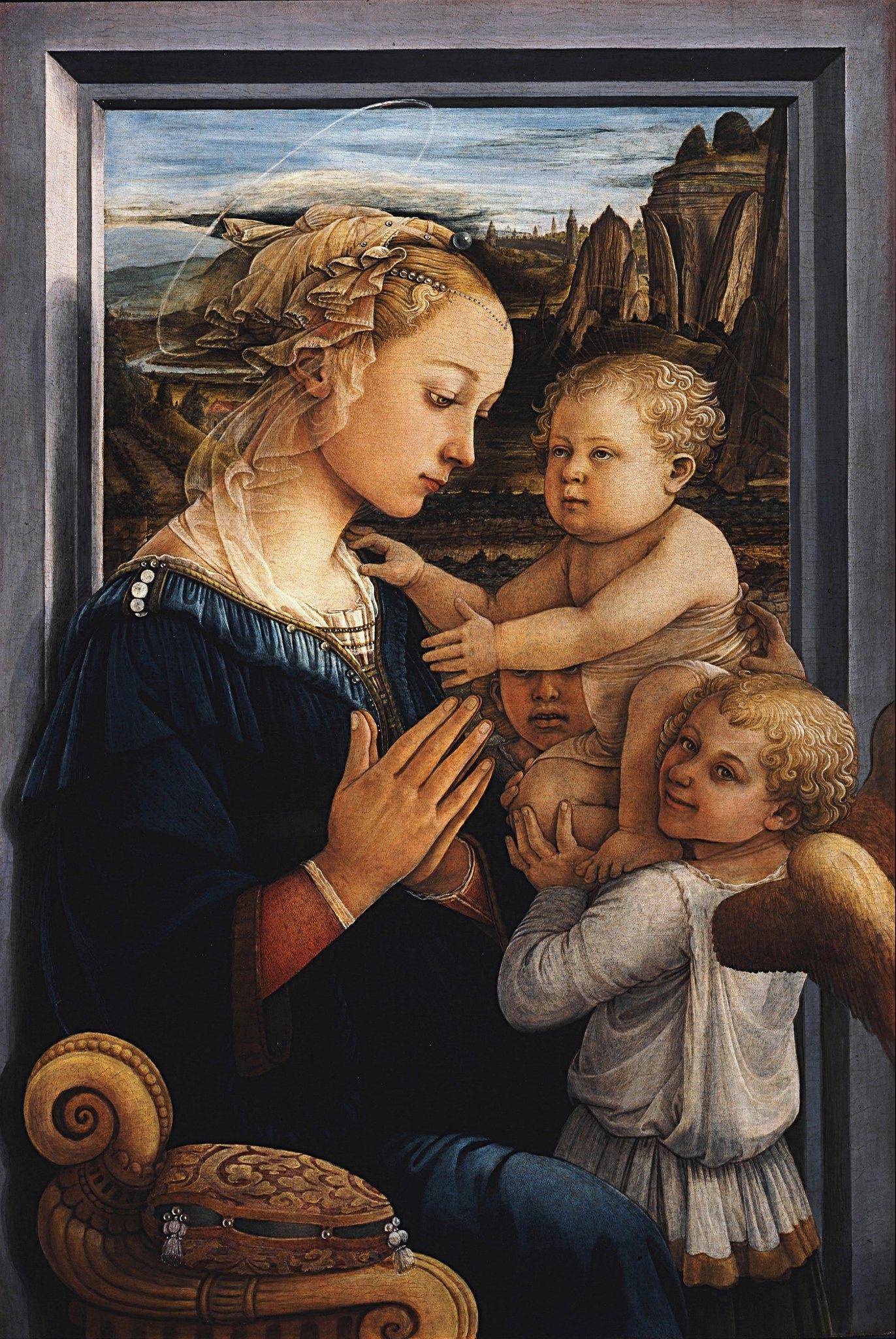 Fra_Filippo_Lippi_-_Madonna_and_Child_with_two_Angels_-_Uffizi