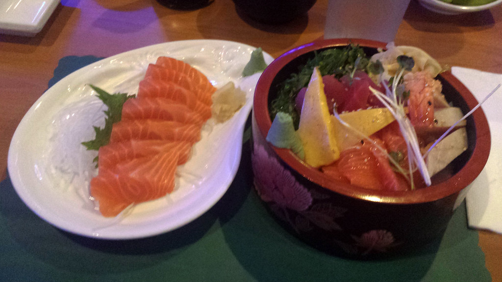 Salmon sashimi and chirashi bowl