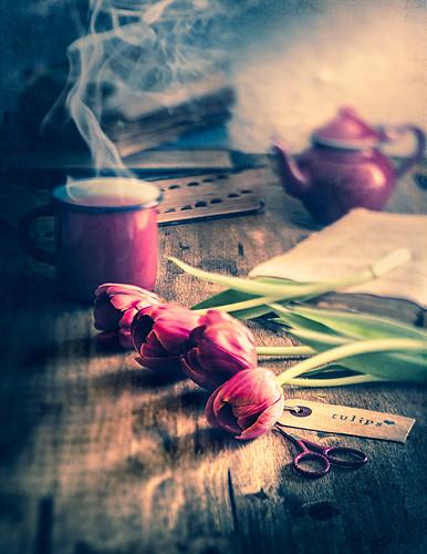 Tea, flowers and books