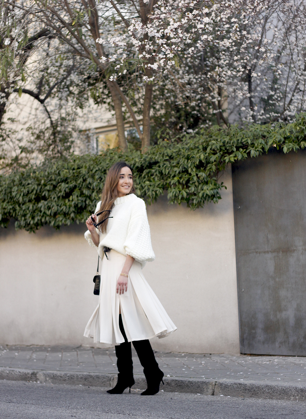 pink pale midi skirt white sweater black boots givenchy bag street style outfit 20197