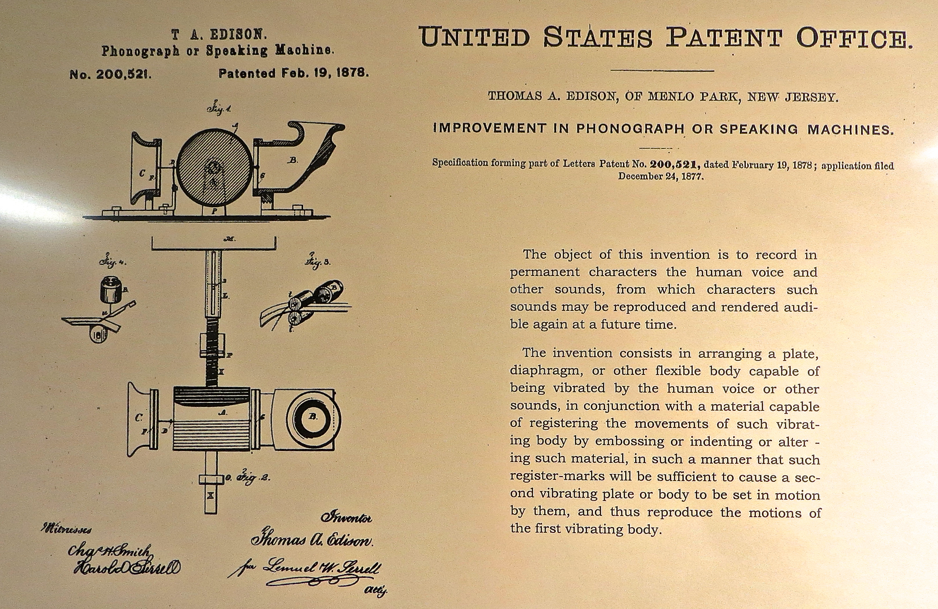 U.S. Patent Office application for an improvement to the phonograph by Thomas Edison, issued on February 19, 1878.