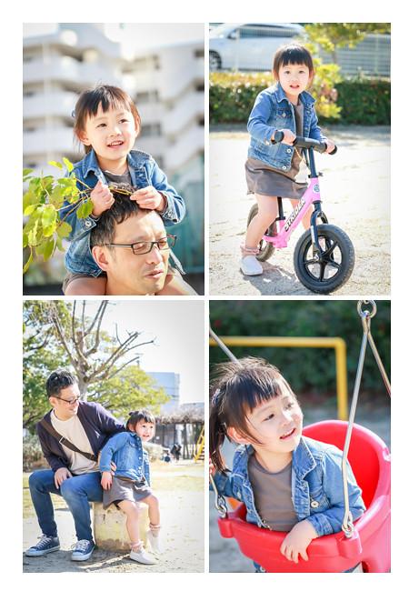 公園で遊ぶ女の子 家族写真の出張撮影