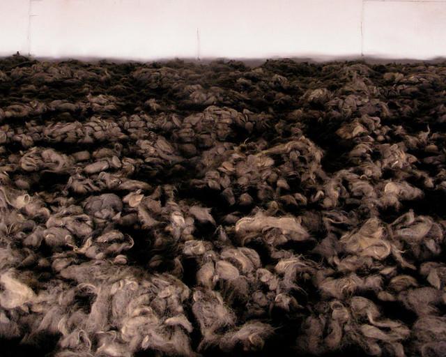 Montañas de pelo de judíos del campo de concentración Auschwitz
