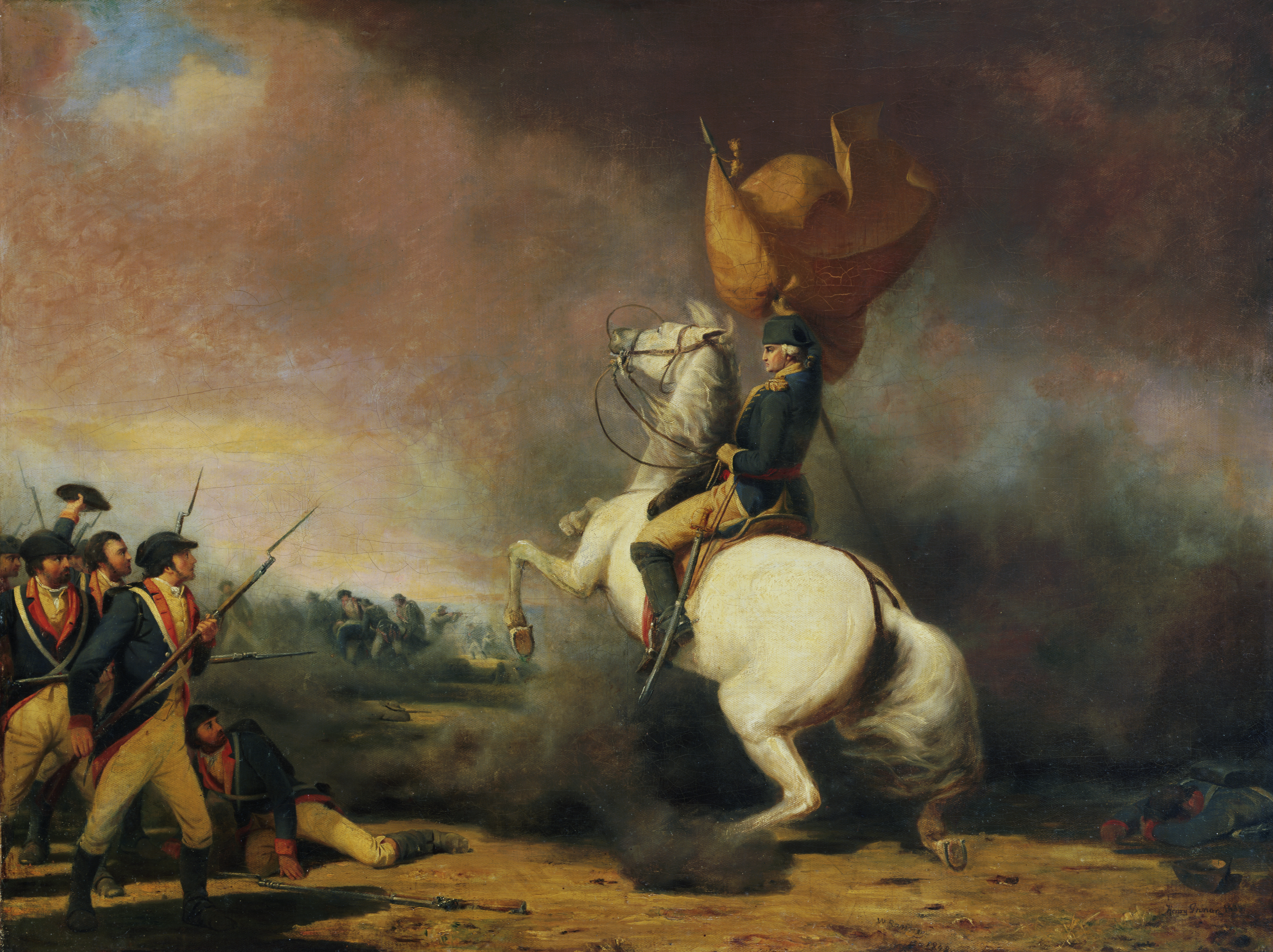 General George Washington rallying his troops at the Battle of Princeton. Oil on canvas painting by William Ranney, 1848. In the collections of the Princeton University Art Museum located in Princeton, New Jersey.