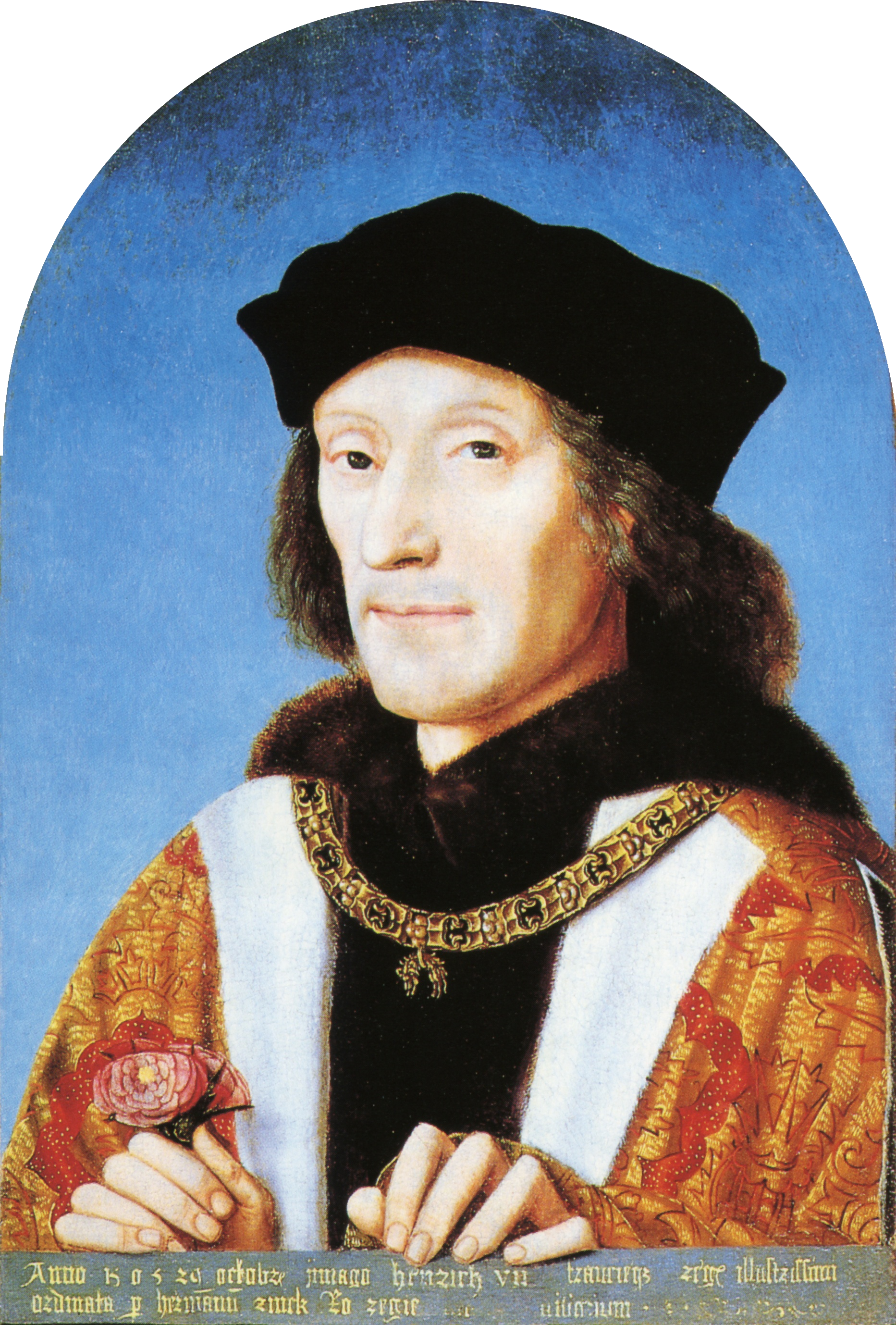 Henry holding a rose and wearing the collar of the Order of the Golden Fleece, by unknown artist, 1505. Text from the National Portrait Gallery catalogue: