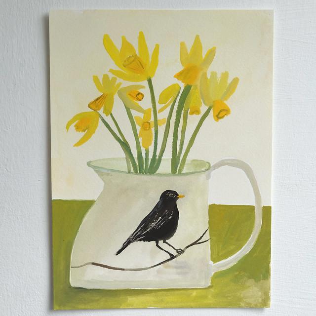 blackbird jug with dainty daffodils