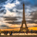 Sunset View of the Eiffel tower and Paris Skyline from Palais de Chaillot across the River Seine, Paris, France-74a