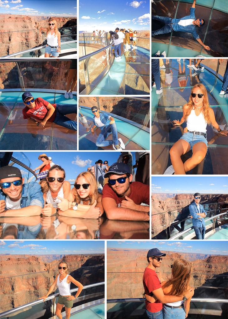 Fotografías en el skywalk del Gran Cañón