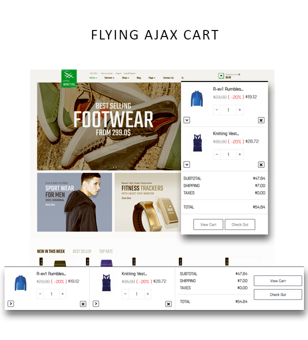 Ap Little Monster Sport Shop Prestashop Fashion Theme - Flying ajax cart