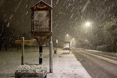Hedon sign snowing 2