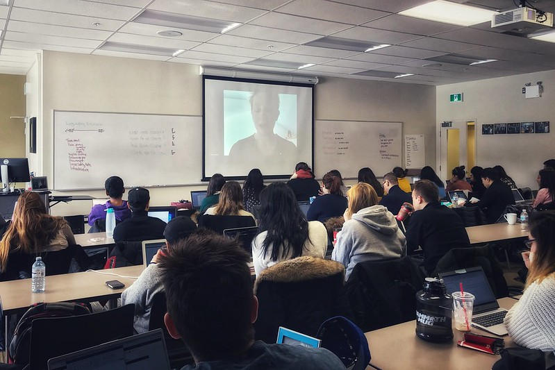 Bianca Wylie guest lecturing the class via videoconference